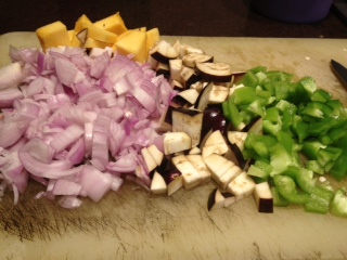 Vegetables chopped and prepped