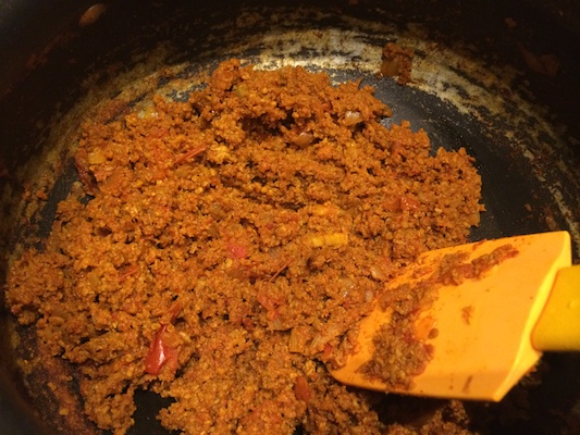 Kheema almost cooked