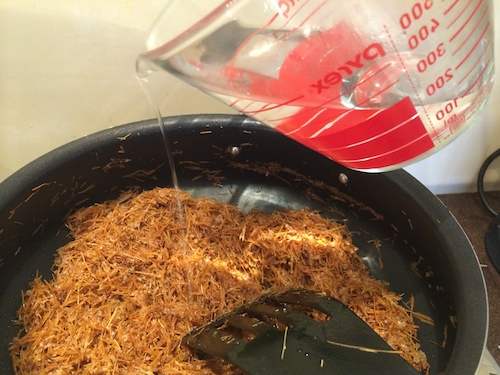 Add water to Parsi Sev mixture