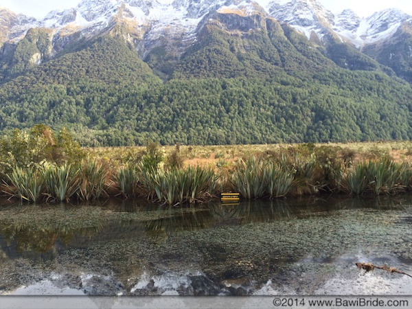 The Southern Alps reflecting into the Mirror Lakes