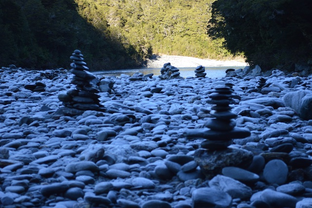 Glacial Stone Piles at Blue Pools of Haast